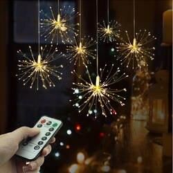 Фестиваль Висячие Starburst гирлянды 100-200 светодиоды DIY фейерверк медь Фея гирлянда Рождественские огни Открытый мерцающий свет