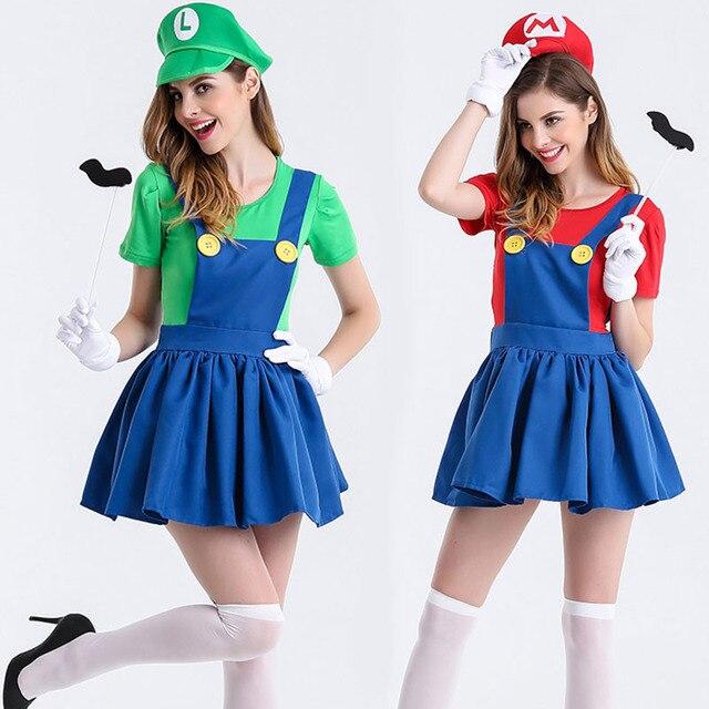 Juegos Super Mario Cosplay disfraces Luigi Brothers Plumber disfraces  mujeres disfraces uniforme completo conjunto para fiesta a7d8af895f15