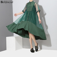 Women Fashion Summer Dress Robes Casual Short Sleeves Patch Work Loose Long Dress Female High Street Party Dress Vestidos