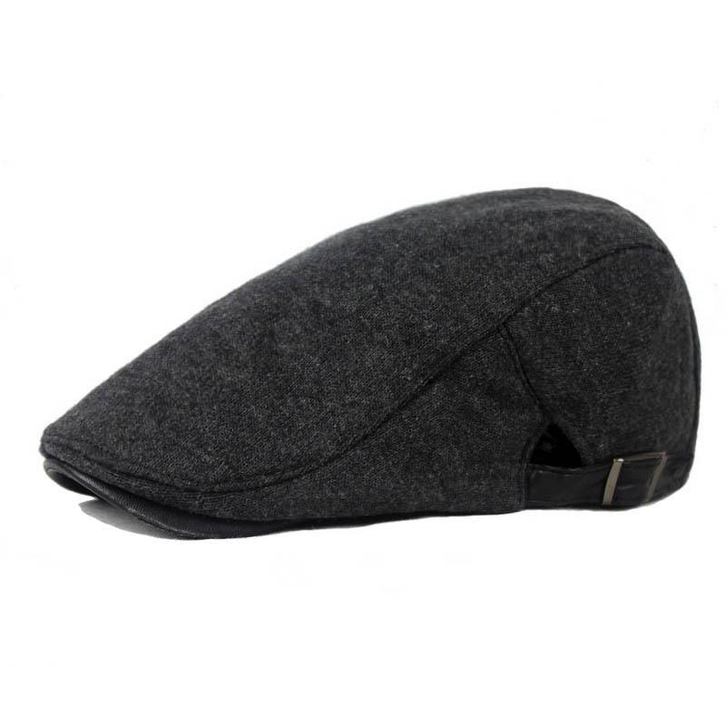 Retro Newsboy Hat Cap Golf Driving Men Wool Fleece Hat, Cabbie Flat Hats - Kingdom store