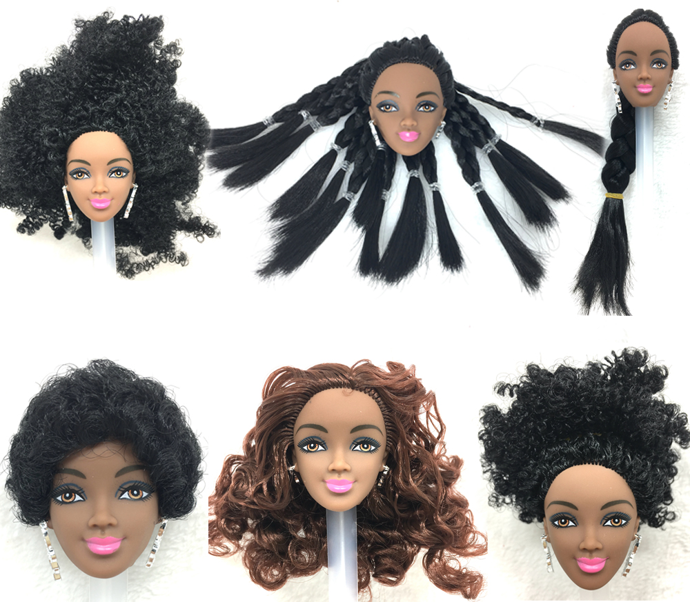 NK One Pcs Black Doll Hair Head For Barbie Dolls AS for FR Dolls Black Africa Explosion Hairstyle Best DIY Gift For Girls Doll