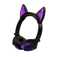 Women Girl Pink Foldable Cat Ear LED Lights Headphones Earphone Glowing Gaming Flashing Headset Wireless Bluetooth