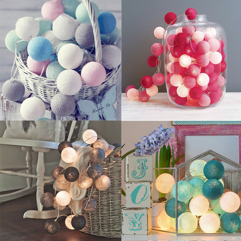 Garland Cotton Balls String Lights 3M 20 LEDs AC & Battery Fairy Lights Holiday Wedding Christmas Party Decoration
