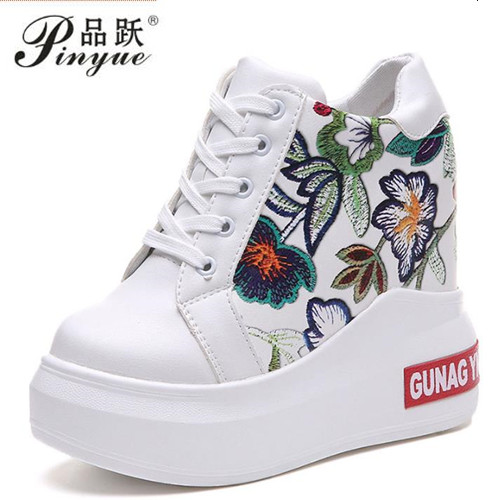 2018 High Top Girls New Casual Shoes Women 11cm Heels Pumps Fashion Lace Up Height Increasing Shoe Female Platform Hidden Shoes forudesigns women fashion high top flats shoes cool skull design female height increasing platform shoes for teenage girls shoes