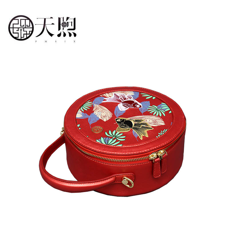 Pmsix 2019 New Superior pu Leather handbags fashion women Luxury printing Round bag small tote women leather shoulder bag - 4