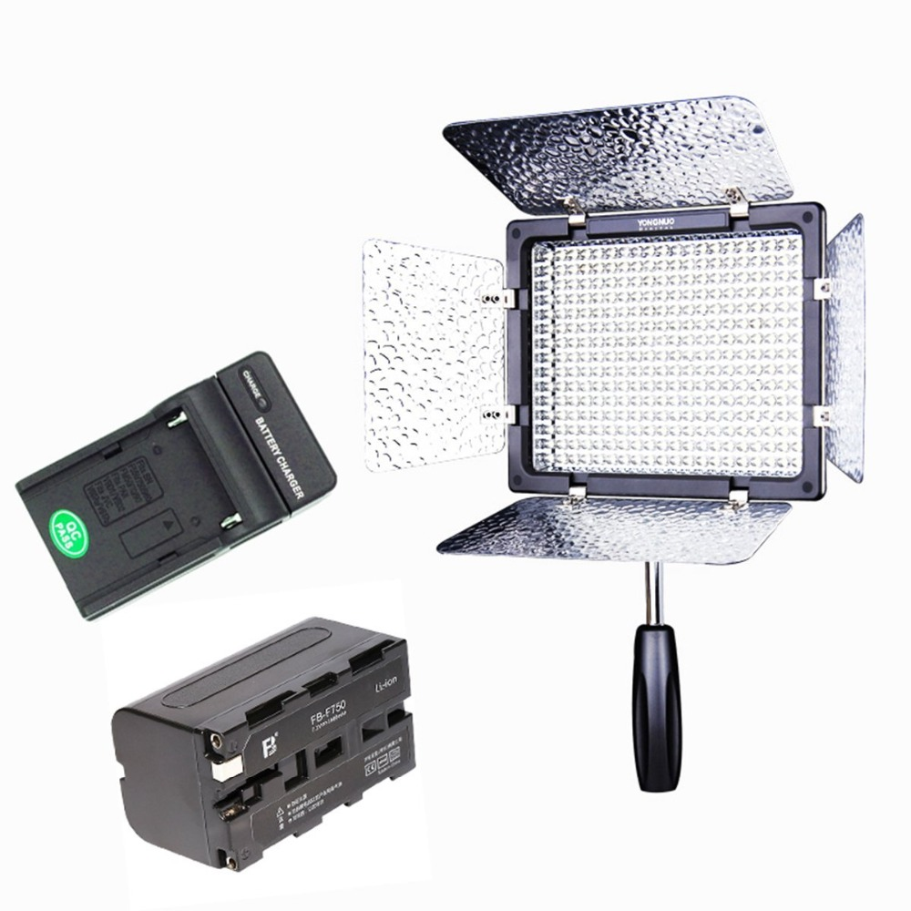 Ulanzi YONGNUO YN300 III 5500K with NP-F750 Battery Charger Kit On Camera Video Light Photographic Continuous Output Light