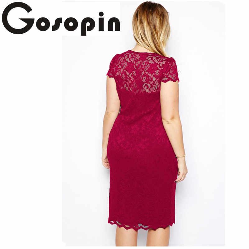 ... Gosopin lace party dresses Summer Elegant Women Tunic Navy Blue  Scalloped V-neck Lace Plus ... 0f32286d2e71