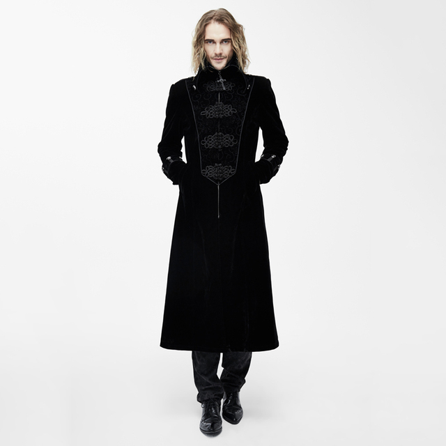 0e9022ee2 Devil Fashion Gothic Palace Noble Gentleman Long Jackets Steampunk Black  Red Winter High Collar Men Thick Coats Overcoats