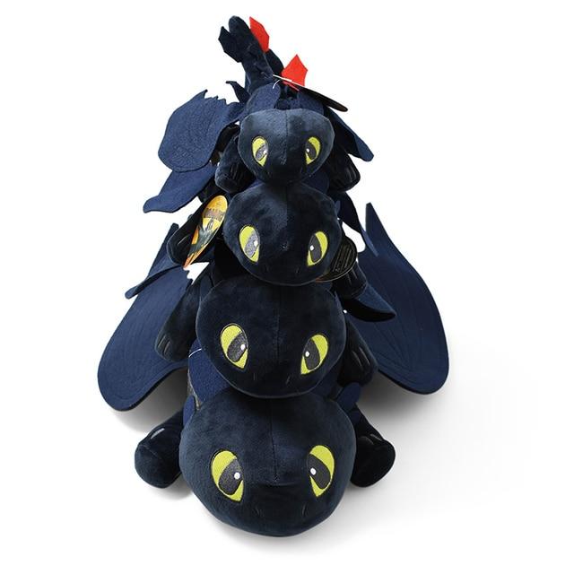 2 4 tamanhos Anime Como Treinar O Seu Dragão Brinquedos de Pelúcia Desdentado Fúria Da Noite Boneca de Pelúcia Brinquedo Macio Bicho de pelúcia padrão Brinquedo Estatueta