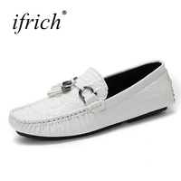 Ifrich Mens Leather Casual Shoes Hot Sale Slip on Mens Loafers Fashion Shoes White Black Blue Male Comfortable Driving Footwear