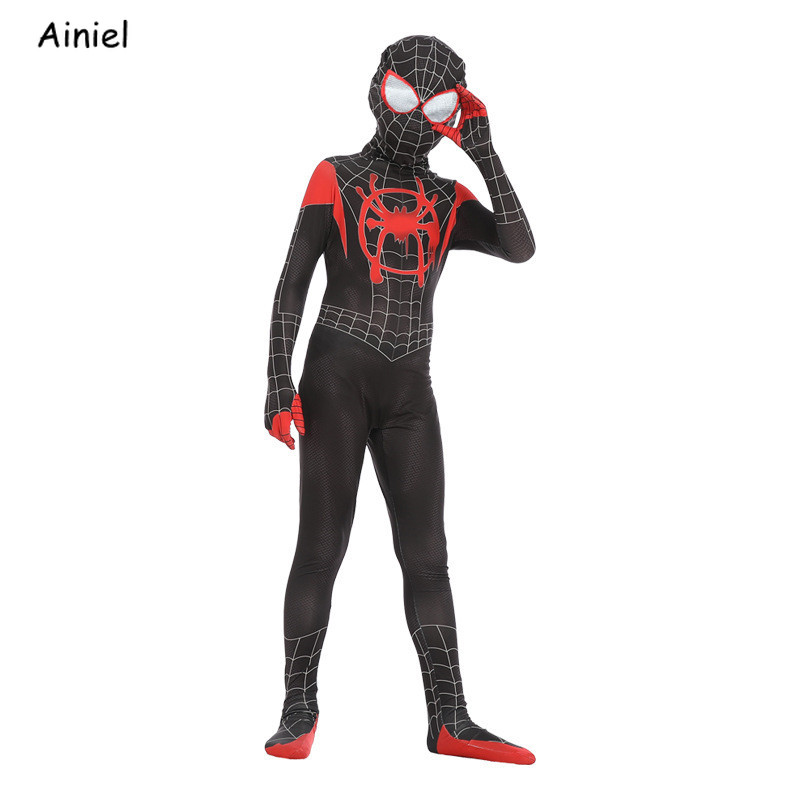 Spider-Man: Into The Spider-Verse Miles Morales Spiderman Cosplay Costume Mask Kids Halloween Zentai Bodysuit Suit Boys Children