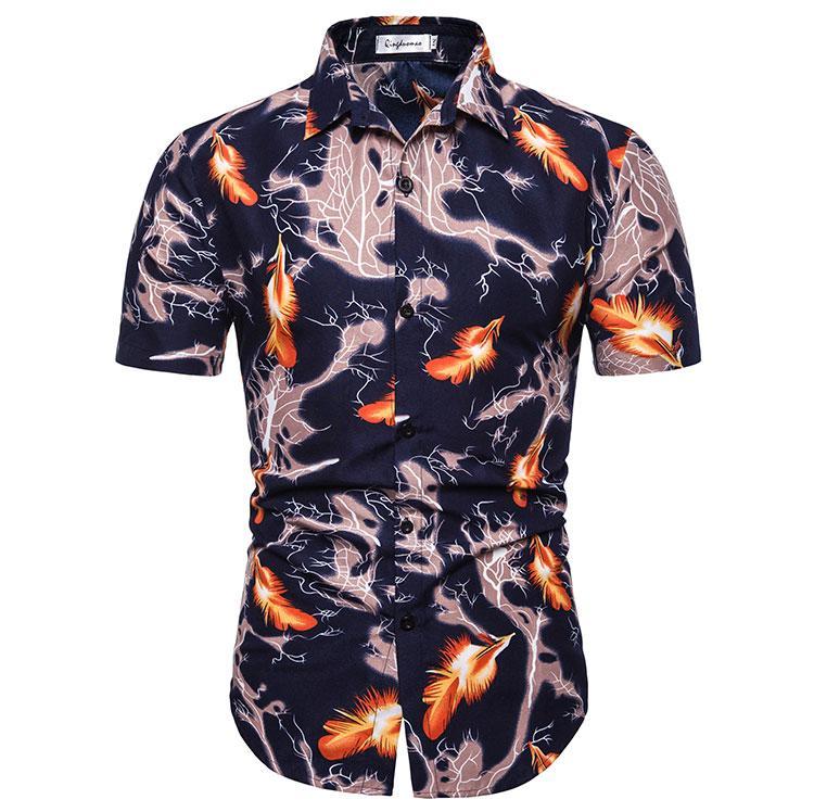 Casual Blouse Mens clothing Slim Summer Dress Men shirt Hawaiian Style Flower Social Shirt New