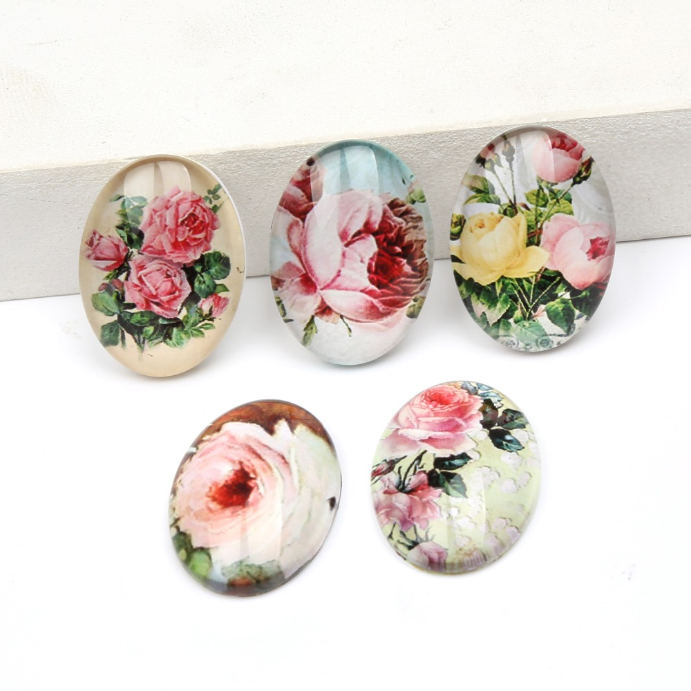 reidgaller 20pcs oval cabochon glass 18x25mm mixed rose flower photo pattern diy handmade pendant earrings cabochons mixed pattern swimsuit