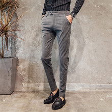 2019 autumn new mens formal business casual plaid trousers classic wedding suit pants slim feet