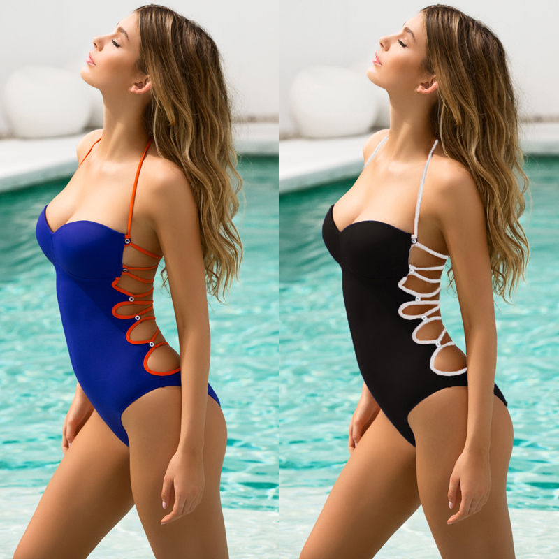 Solid Halter Mokini Women Bandage Push Up Polyester Beach Swimwear Sexy Blue Bikini Suit Bathing Swimwear Bath Suit 2016 solid blue orange women halter push