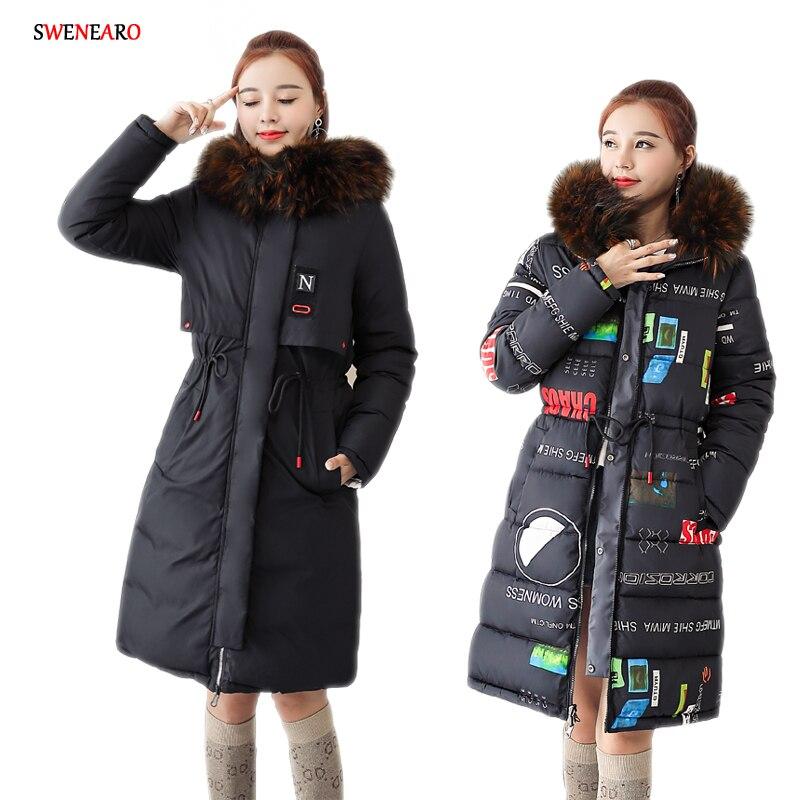 Offre spéciale 2018 nouveaux manteaux et vestes d'hiver femmes Slim Long Parka épais chaud grande fourrure à capuche coton vestes de mode femmes manteaux