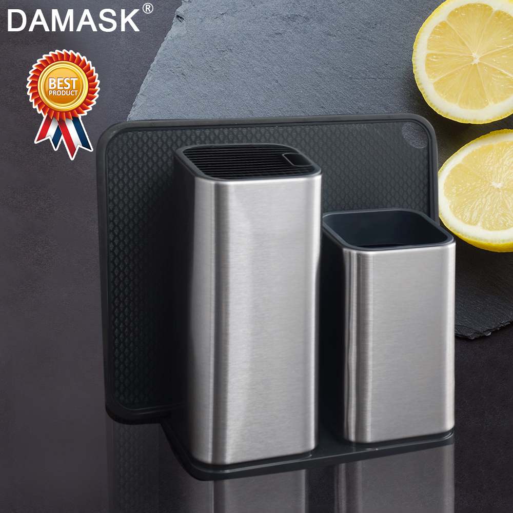 Damask Multifunctional Stainless Steel Block Stand Ceramic Stainless Steel Damascus Steel Kitchen Knife Holder Kitchen Tools