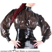 Прозрачный черный с черный планки пикантные короткие латекс блузка с молния сзади резиновая рубашка верхняя одежда YF 0142