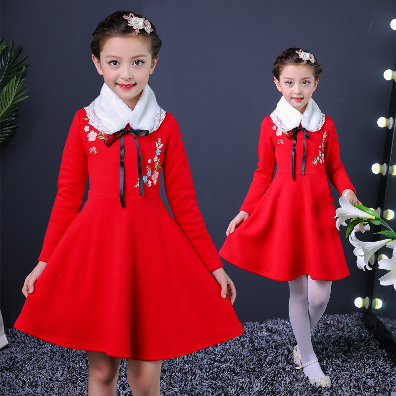 Winter Girl New Year Dress Chinese Style Flower Embroidery Christmas Party Wedding Girl Clothes Plus Thick Children Clothing wholesale boy girl floral beauty skullies colored rhinestone flower style luxury winter hats for children 3 12 year kid beanies