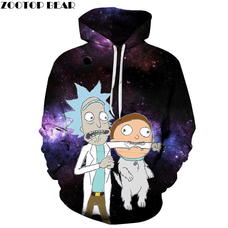 Galaxy Hoodies Mens Sweatshirts Rick and Morty Hoodie 3d Pullover Anime Hoody Streetwear Tracksuits Brand Drop Ship ZOOTOP BEAR