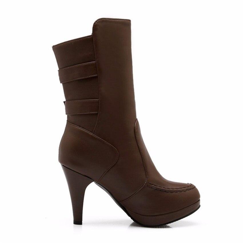 Autumn Winter Plush Woman High Heels Mid-Calf Boots Women Short Boots Ladies Shoes botas botte femme Plus Size 34-40.41.42.43