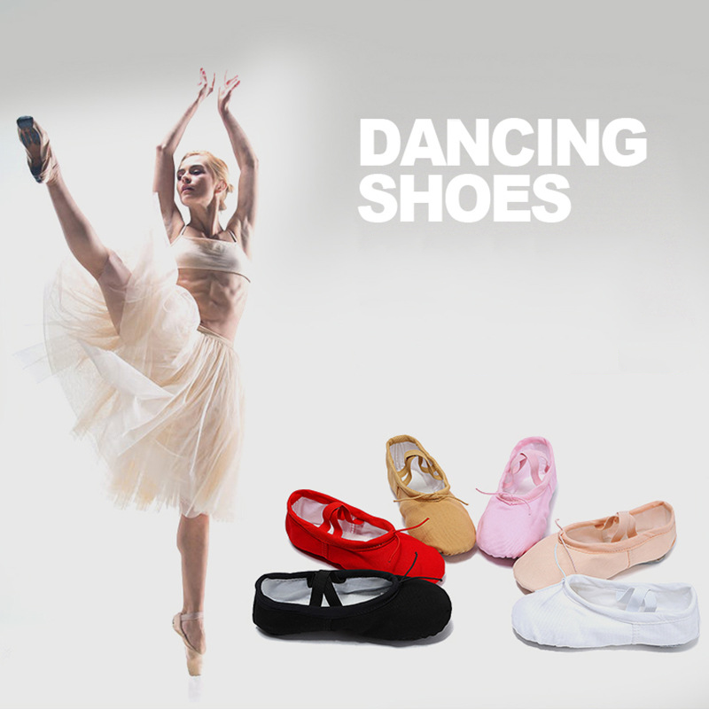 Women 7 Colors Canvas Separate Soles Dance Shoes Adult Flat Heel Soft Ballet Pleated Elastic Band Yoga Training