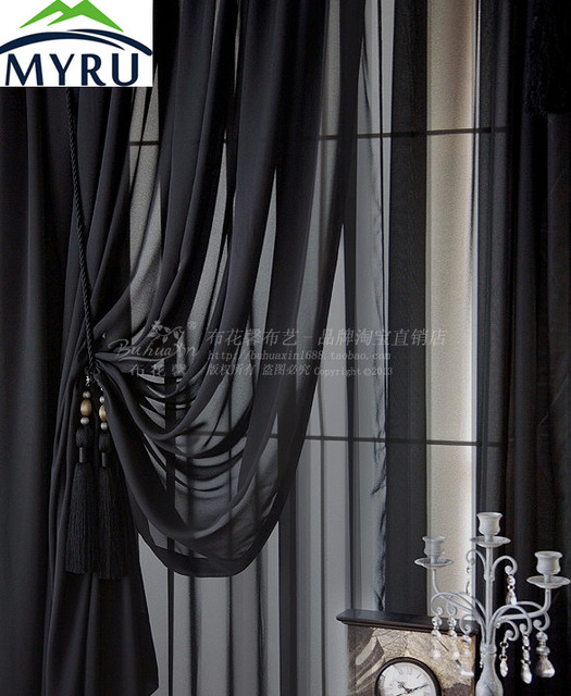 MYRU New Arrival Solid Color Screens Custom Black Sheer Curtains Black  Curtains For Living Room And