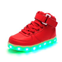 Kids Boys Girls USB Charger Led Light Shoes High Top Luminous Sneakers Casual Lace Up Shoes