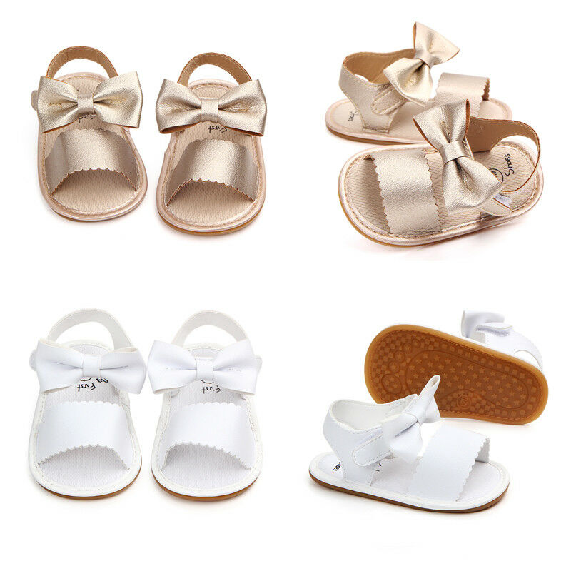 Newborn Infant Baby Girls Bowknot Princess Shoes Toddler Summer Sandals PU Non-slip Rubber Shoes