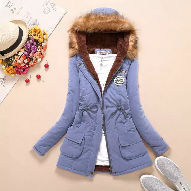 19 Winter New Women's Hooded Fur Collar Waist And Velvet Thick Warm Long Cotton Coat Jacket Coat 6