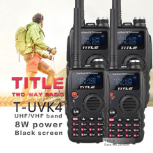 (4PCS)Black TITLE portable radio T-UVK4 Dual Band UHF VHF Two Way Radio for Baofeng UV-5R/BaoFeng UV-82 walkie talkie