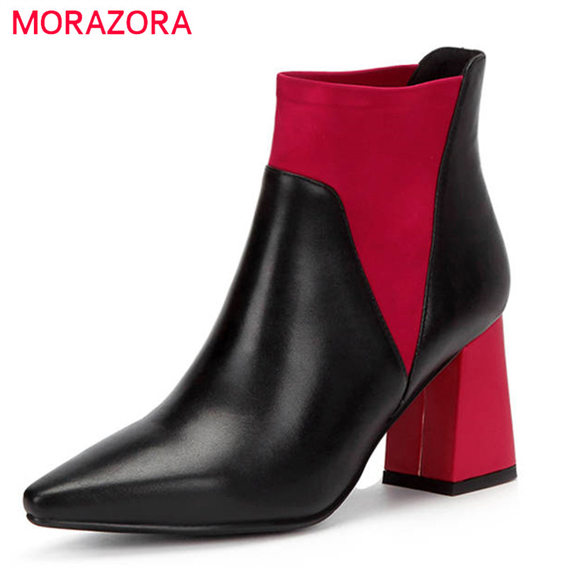 MORAZORA 2020 new arrival ข้อเท้ารองเท้าบู๊ทหนังแท้สีผสมแฟชั่นรองเท้ารองเท้าส้นสูงรองเท้าฤดูใบไม้ร่วงหญิง-ใน รองเท้าบูทหุ้มข้อ จาก รองเท้า บน   1