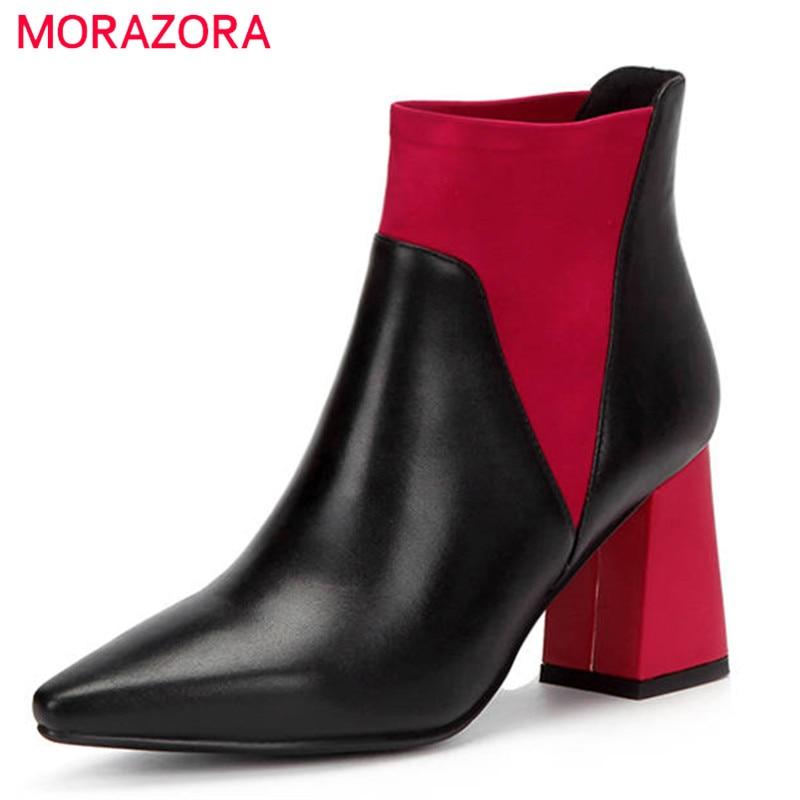 MORAZORA 2020 nueva llegada botas de tobillo de mujer de cuero genuino de color mezclado zapatos de moda deslizamiento en tacones altos botas de otoño para mujer-in Botas hasta el tobillo from zapatos    1