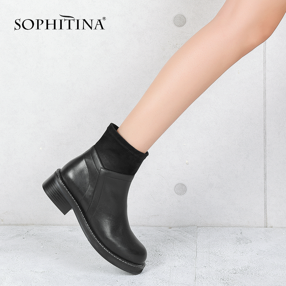 SOPHITINA Genuine Leather Casual Boots Elegant Round Toe Zipper Woman Shoes Comfortable Low Heels New Basic