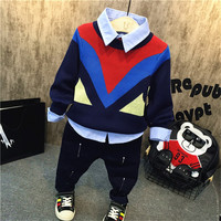 3pcs boys fashion clothing set kids all match patchwork sweater blue shirt and dark blue pant set baby causal clothes children