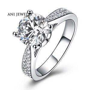 Женское кольцо для свадьбы ANI, 18 К, белое золото (AU750), натуральный сертификат, I-J/SI 0,79 карат, круглая огранка, роскошные изящные украшения на за...