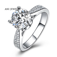 ANI 18K White Gold (AU750) Women Wedding Ring Natural Certified I J/SI 0.79 CT Round Cut Diamond Luxury Fine Jewelry Customized