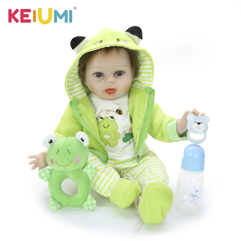 Keiumi 22 55 55 55 cm boneca recém-nascido silicone macio algodão corpo venda quente bebê reborn menino boneca para crianças presentes de aniversário dormir playmate
