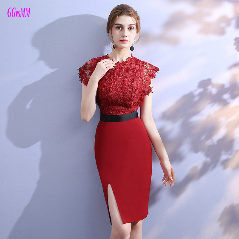 Real Photos Burgundy Lace Short   Cocktail     Dresses   2019 New Sexy Black Party   Cocktail   Gowns Elastic Satin Zipper   Cocktail     Dress