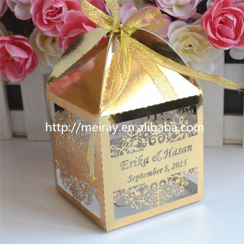 Laser cut gold wedding box indian wedding gift wedding favor box ...