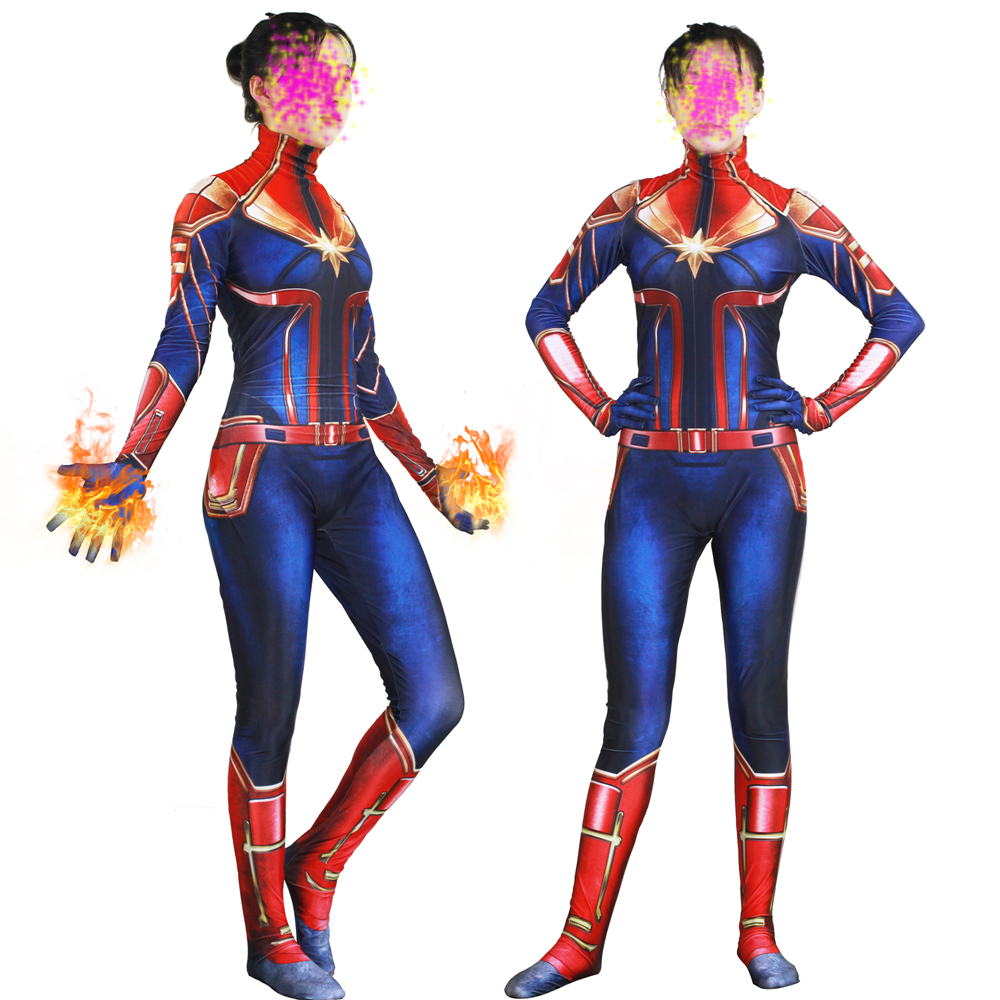 New 3D Women Girls Movie Version Captain Marvel Carol Danvers Cosplay Costume Zentai Superhero Bodysuit Suit Jumpsuits