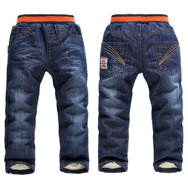 cca3e91b4 Children Boy Jeans Thick Winter Warm Cashmere Kids Pants Casual Shinny Jeans  Children Trousers Free shipping