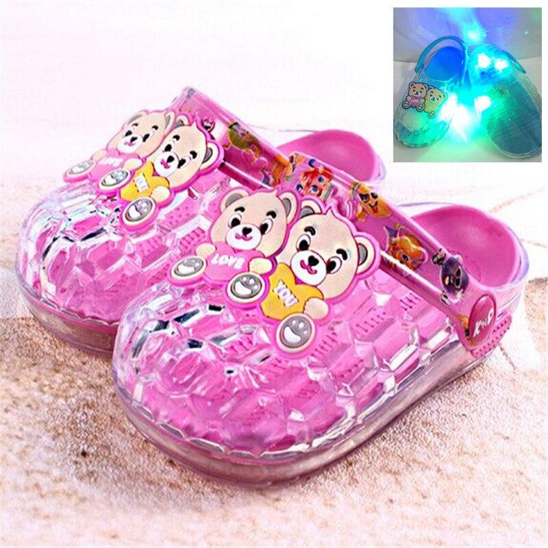 led shoes kids girls boys slides slip on sandals summer children