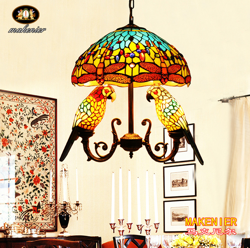 Makenier Vintage Tiffany Style Stained Glass 16-inch Dragonfly + Double Parrots Pendant Hanging Lamp 16inch antique agate jade dragonfly stained glass lampshade tiffany pendant lamp country style bedside lamp e27 110 240v