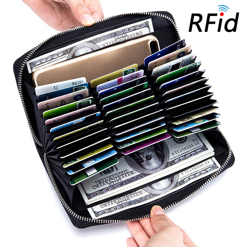 Rfid 36 Slots Genuine Leather Women Wallet Many Departments Female Wallet Clutch High Quality Card Holder Ladies Purse Carteira