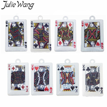 Julie Wang 5PCS King Queen Poker Card Pendant Milky White Plated Zinc Alloy Little Charm DIY Unique Customized Jewelry Findings