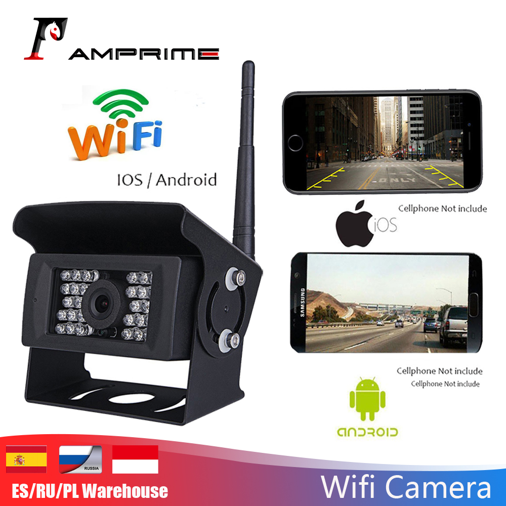 AMPrime WIFI Reversing Camera Dash Cam Star Night Vision Car Rear View Camera Mini Body Waterproof For IPhone And Android