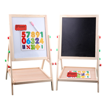 65cm Child double side Wooden Magnetic Blackboard Whiteboard Kids big Writing and Drawing Board toys with Eraser Chalk Marker