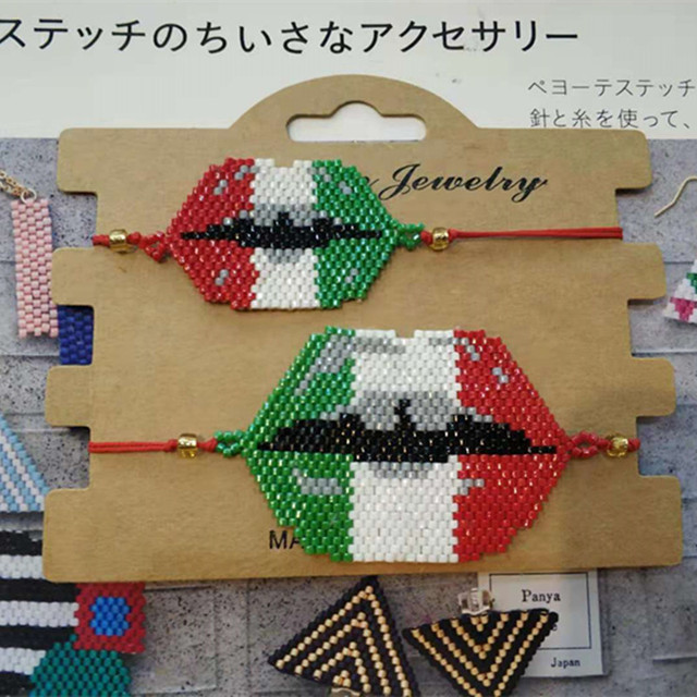 9793c038b122 MIYUKI labios Sexy pulsera México bandera Pulseras