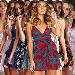 Summer Floral Printed Sexy Deep V Sling Dress Women Halter Ruffled Belt 2019 Fashion Ladies Party Mini Dresses Feamle Vetidos 2